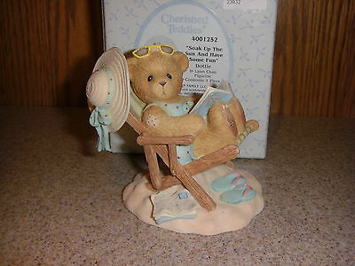 Cherished Teddies Summer Beach Figurine - DOTTIE Sunbathing in Chair Flip Flops