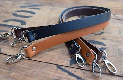 Replacement Leather Shoulder Bag Strap19mm wide 120cm long, nickel silver clasps