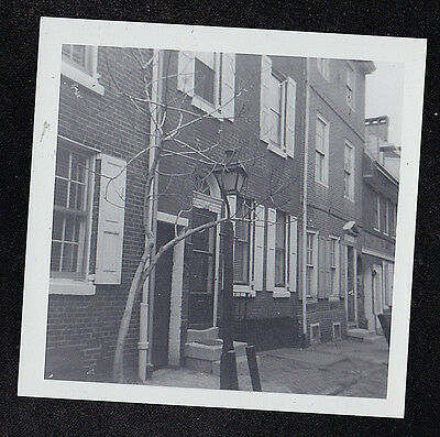 Vintage Antique Photograph Light Post in Front of Group of Gorgeous Townhouses