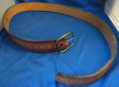 Vintage Hand Painted Tooled Leather Belt Size 36