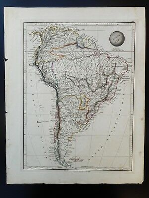 Antique Hand Coloured Map Of South America. 1828 Published In London