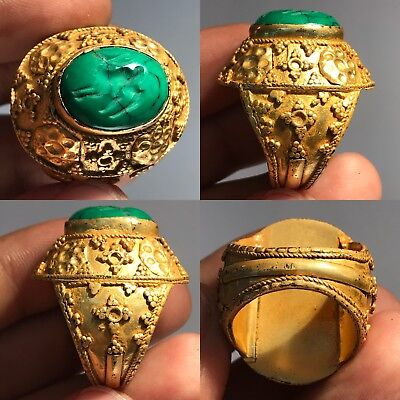 Very Old Turquoise Intaglio Stone Gold Gilding Wonderful Ring