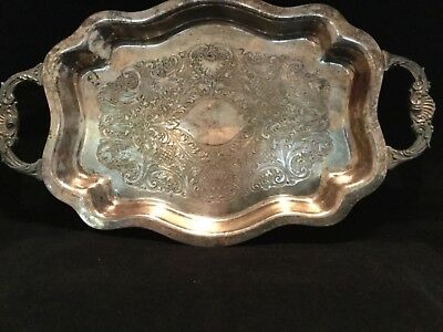 "Vintage antique Fina silver on copper tray engraved double ornate handled 13""x8"""