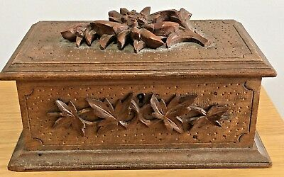 Antique Black Forest Carved Wooden Box With Edelweiss Flowers
