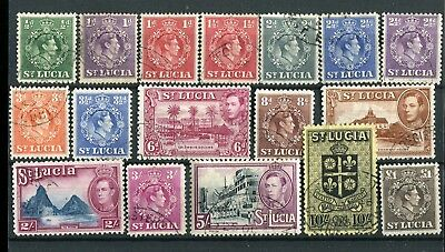 St Lucia KGVI 1938-48 set of 17 SG128a/41 fine used