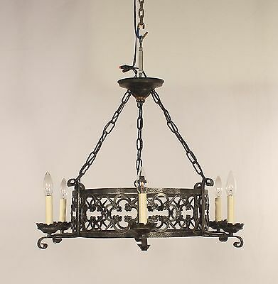 6 Light Openwork Black Wrought Iron Chandelier (Spain 1960's)