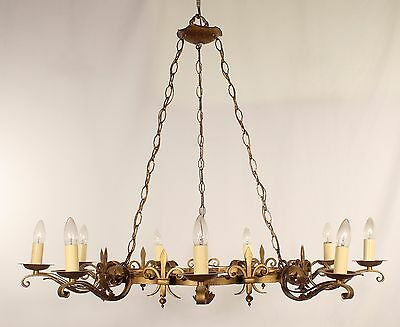 Antique 9 Light Gold Wrought Iron Chandelier w/ Fleur-de-Lis