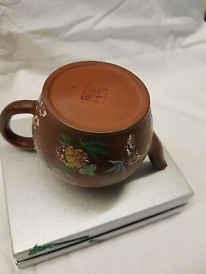 Chinese Antique Yixing Teapot Enamel Butterfly Design Signed 18th ct Shape