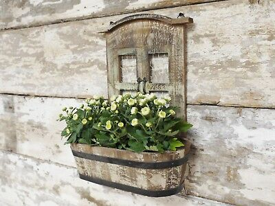 Vintage Shabby Chic Wooden Wall Mounted Garden Planter Herb Pot Flower  Display