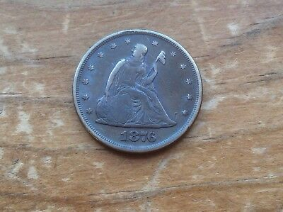 1876 Twenty Cent Piece 20C Silver Coin @@ rare date low mintage must see @@@