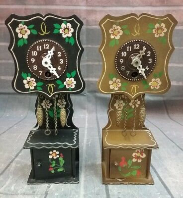 2 Vintage Miniature Grandfather Clocks by Linden Black Forest West Germany