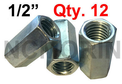 Qty 12 Hex Rod Coupling Nuts 1/2-13 x 1-1/4 Threaded Rod Connectors Zinc Coupler
