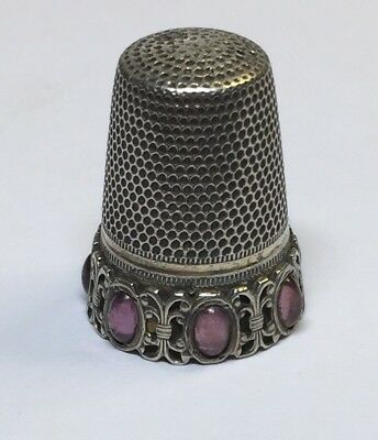 ANTIQUE THIMBLE SOLID SILVER 800 Catseye Amethysts Decoration Superb Design