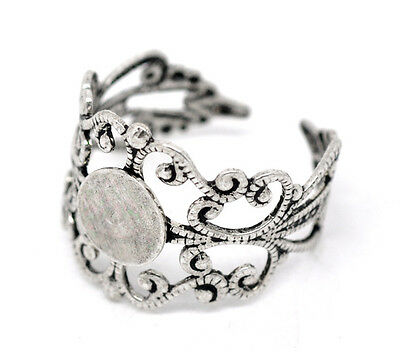 2 Ring Blanks Blank Rings Silver Ring Blanks Adjustable Rings Filigree Rings