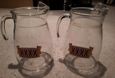 Pair of Castlemaine XXXX 4 Pint Glass Pitchers with Handles - Good Condition
