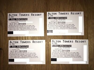 4 x One Day Admission Alton Towers Tickets -Any Guest & Date,Valid Till 02/11/18