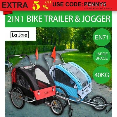 La Joie Kids Bike Trailer Bicycle 2 IN 1 Pram Stroller Children Jogger Blue Red