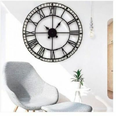 88cm Round Black Metal Skeleton Roman Numeral Indoor/Garden Outdoor Wall Clock