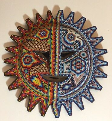 "Vintage HUICHOL BEADED WORK COLORFUL SUN MOON WALL hanging 14""INCHES DIAMETER"