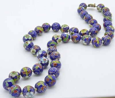 "Cloisonne Hand knotted Very Rare Vintage Enameled Blue 25"" Necklace Beads"