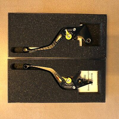 New set of black/gold ABM Synto adjustable short clutch and brake lever