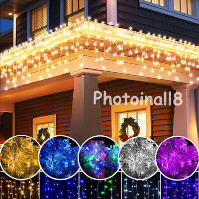 3M 96 LED Hanging Icicle Curtain Lights Outdoor Fairy Xmas String Wedding Decors