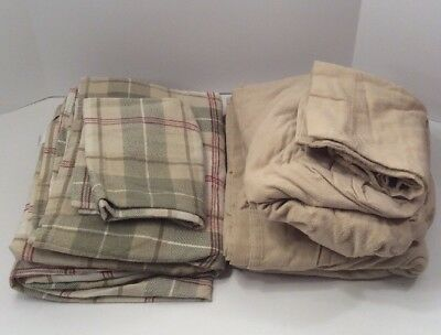 Home Classics Lot Of 2 Twin Size Flannel Sheet Sets (3 Piece Sets) Beige & Plaid