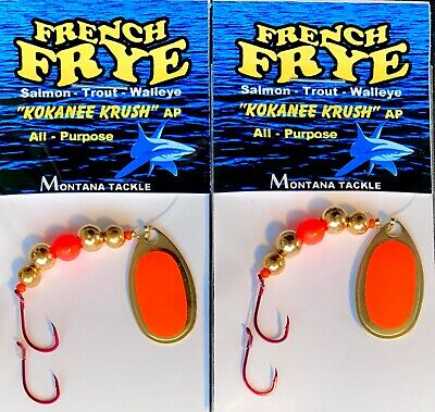 """Brown Trout Trolling Spinners 2 """"CLASSIC ORANGE SCULPIN"""" by Montana Tackle"""