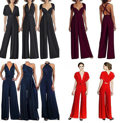 2e291a97416 Women Multi Way Convertible Wrap Wedding Party Jumpsuit Romper Wide Leg  Palazzo