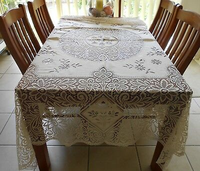 Extra Large Tablecloth - Lace Rectangular - Vintage - 240 X 220cm - Cream