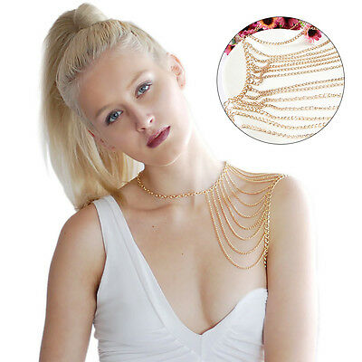 Multilayer Tassel Necklace Body Harness Metal Sexy Shoulder Body Chain NEW