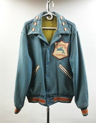 Miami Dolphins 1973 Letterman Style Jacket With Leather Collar; Large; 46 Chest