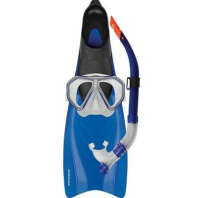 Mirage Bahamas ADULT Snorkel Set Includes Flipper Snorkel Mask BLUE S
