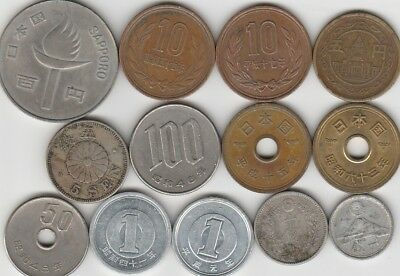 13 different world coins from JAPAN some silver