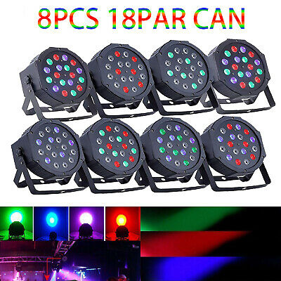8PC 18*3W LED RGB Stage DMX Lighting PAR Light KTV Party Disco DJ Lights 7 Modes