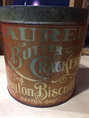 """Antique Litho Tin Can """"laurel Butter Crackers""""  Country Store"""