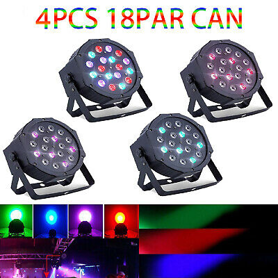 4PC LED Par DMX Stage Lights 18 DMX Lighting 7 Modes Club Party Show DJ Diso KTV