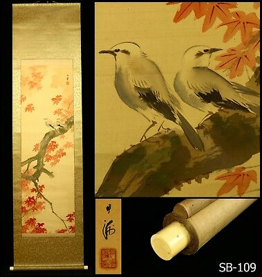 """Birds on Maple Tree"" Signed Gesshu 月洲 Hanging Scroll  -Japan- Showa Period"