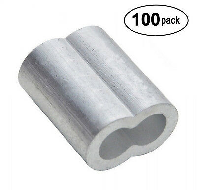 Cable Crimp Sleeves Wire Ferrules Rope Aircraft Sleeve Clamps Connector 100 Pack