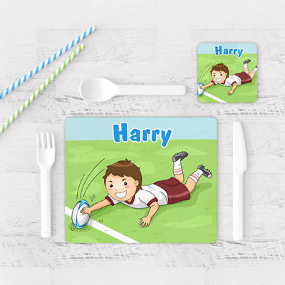 Personalised Rugby Sports Boys Kids Children's Table Placemat & Coaster