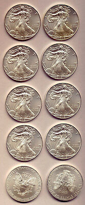 Usa: 2013 Ten Lovely Unc Silver Dollar Coins   Low Reserve