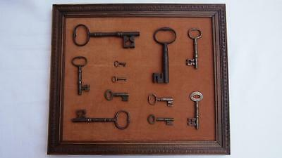 Antique Cast Iron Key Collection - 11 keys in total (framed)