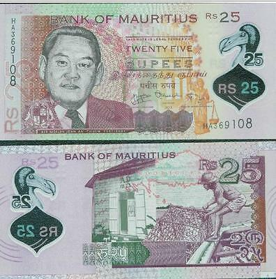 Mauritius 25 Rupees 2013 year Polymer BrandNew Banknotes