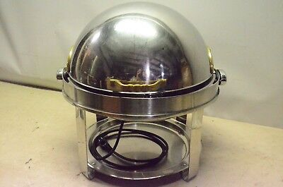 Vintage Stainless Steel Chafing Dish Roll-Top Lid 6 Quart, Electric Heater, PSU