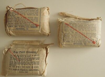 Lot of 3 Original WWII First Field Dressings 1943 Unopened NOS