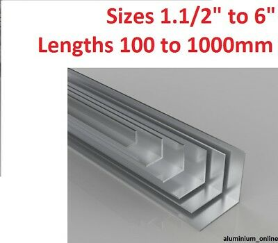 "ALUMINIUN EQUAL ANGLE 1.1/2"" 1.3/4"" 2"" 2.1/2"" 3"" 4"" 6"" inch lengths to 1000mm"