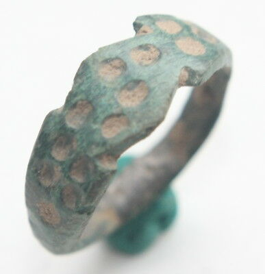 Ancient Old Bronze Ornament Decorated Ring ''Thimble Dots'' (SEP)