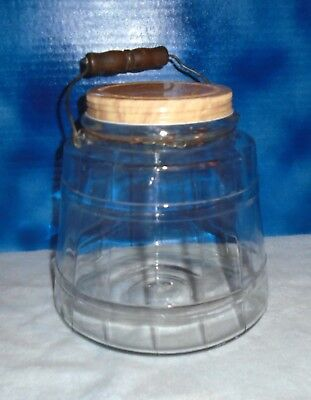 Vintage 1 Gallon Glass Pickle Jar with Wood & Wire Handle