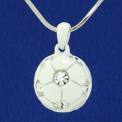 "Made With Swarovski Crystal Football Soccer White Clear Ball Pendant 18"" Chain"