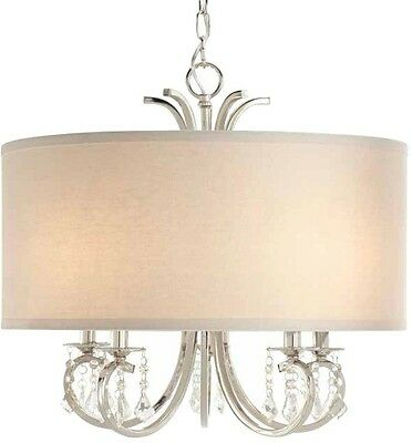 Drum Shade Chandelier Pendant White 5 Light Polished Nickel